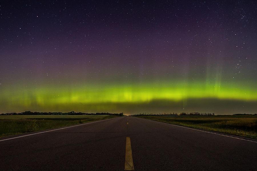 Aurora Borealis Photograph - Road to Nowhere - Aurora Borealis by Aaron J Groen