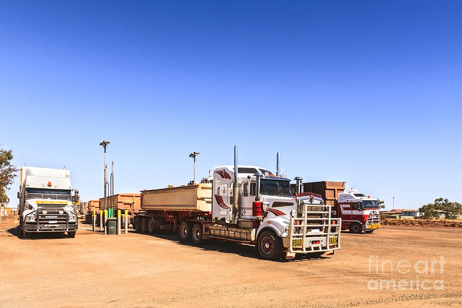 Road Photograph - Road Trains Refuelling by Colin and Linda McKie