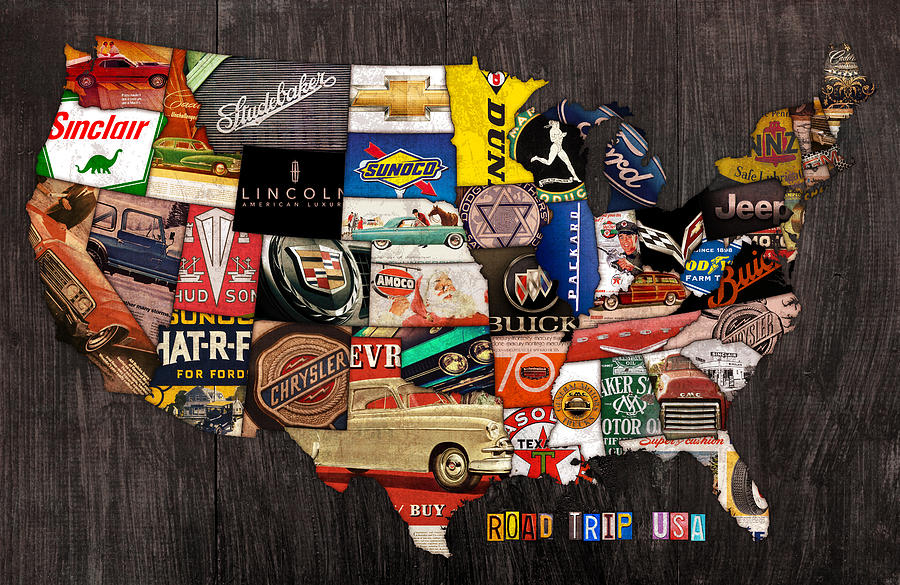 Road Trip Usa Mixed Media - Road Trip Usa American Love Affair With Cars And The Open Road by Design Turnpike