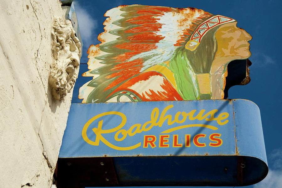 Austin Photograph - Roadhouse Relics Sign by Mark Weaver