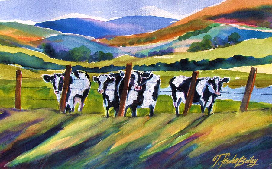 Cows Painting - Roadside Cows Near San Luis by Therese Fowler-Bailey