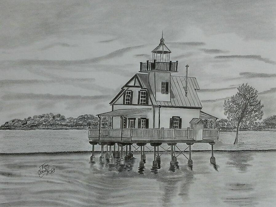 Lighthouse Drawing - Roanoke River Lighthouse by Tony Clark