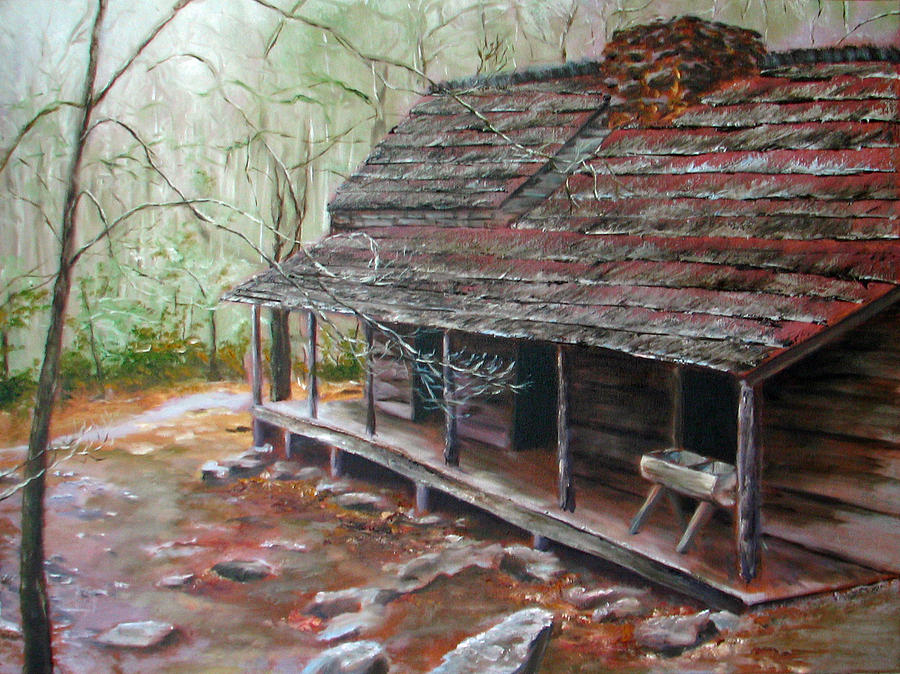 Cabin Painting - Roaring Fork Cabin by Sherry Robinson