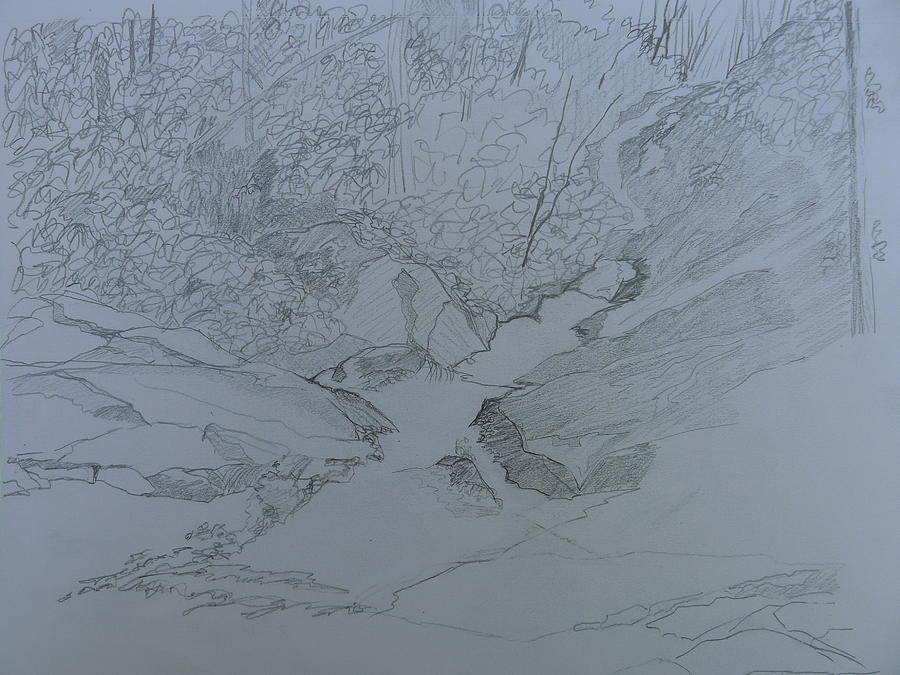 Pisgah National Forest Drawing - Roaring Fork Falls - Sketch by Joel Deutsch