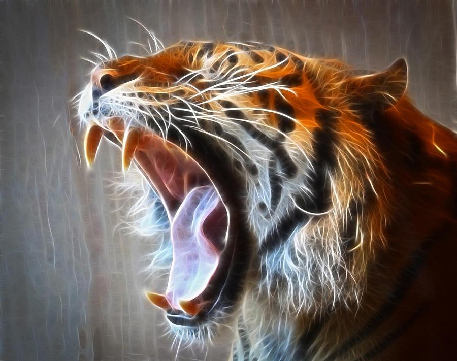 roaring tiger photograph by steve mckinzie