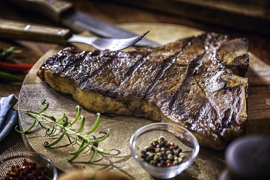 Roasted Bbq T-bone Steak Photograph by GMVozd
