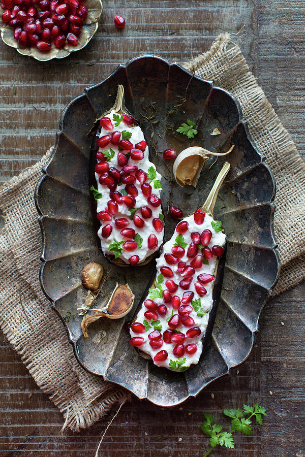 Roasted Eggplant With Pomegranate Photograph by Ingwervanille
