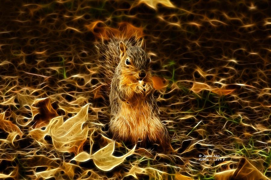 Home Decor Digital Art - Robbie The Squirrel -1554 F by James Ahn