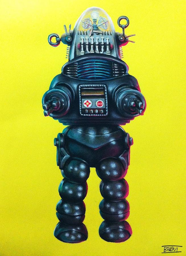 Robby The Robot Drawing - Robby The Robot by Brent Andrew Doty