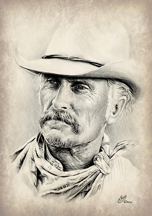 Robert Duvall Sepia Scratch Drawing By Andrew Read
