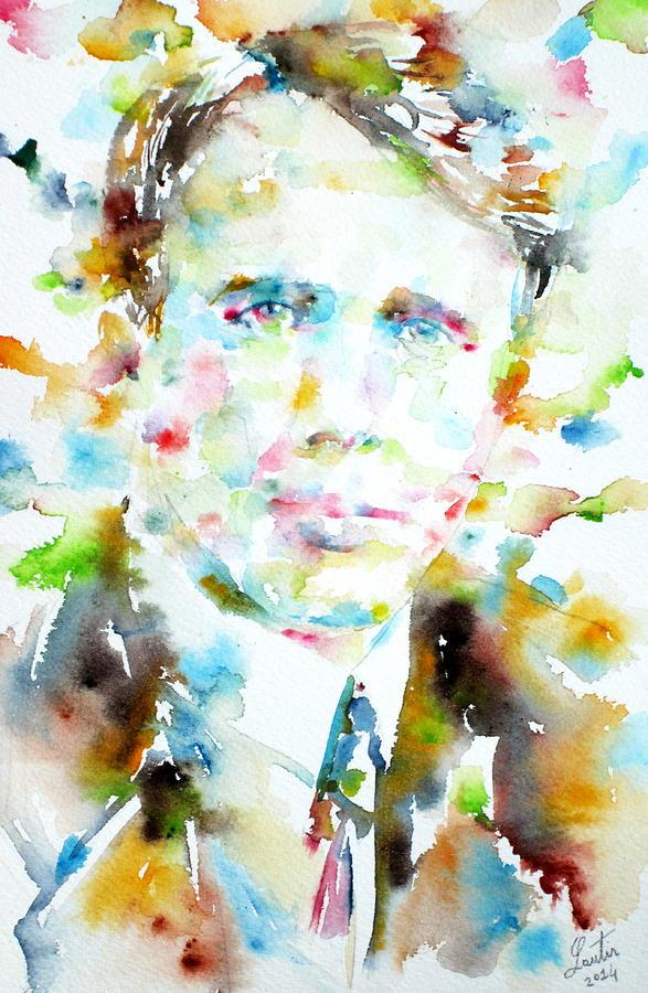 Robert Frost Painting - Robert Frost . Watercolor Portrait by Fabrizio Cassetta