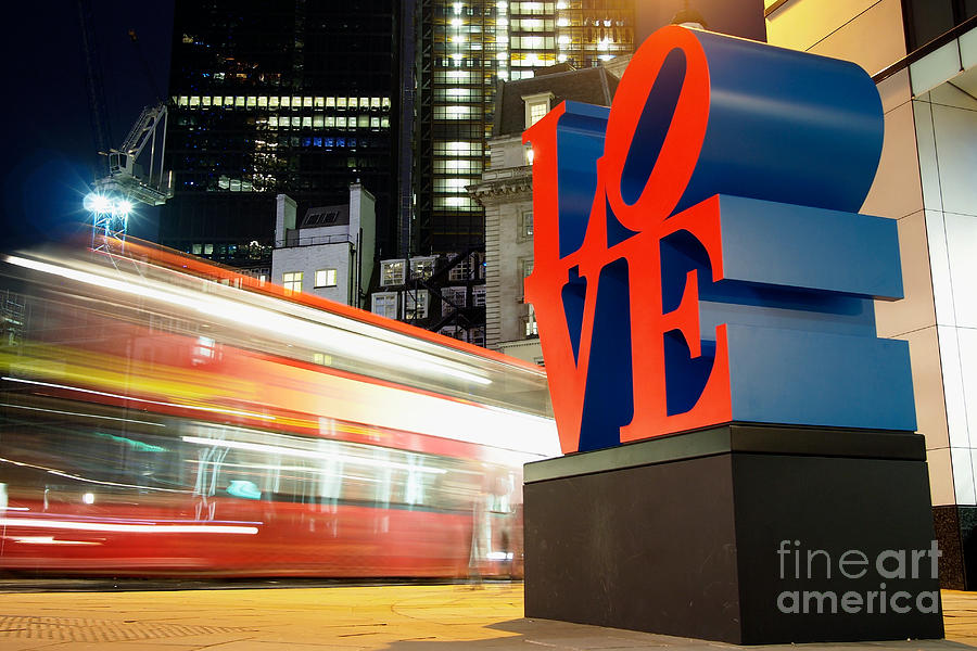 Bishopsgate Photograph - Robert Indianas Love Sculpture in The City of London  by Mark Carnaby