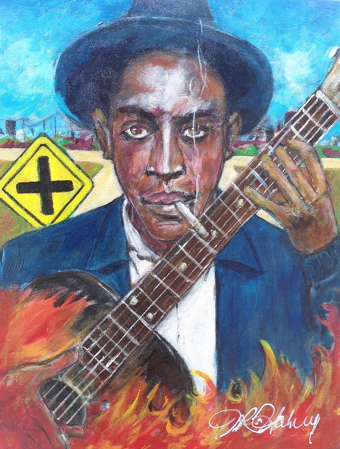Blues Painting - Robert Johnson At The Crossroads by Aaron Harvey
