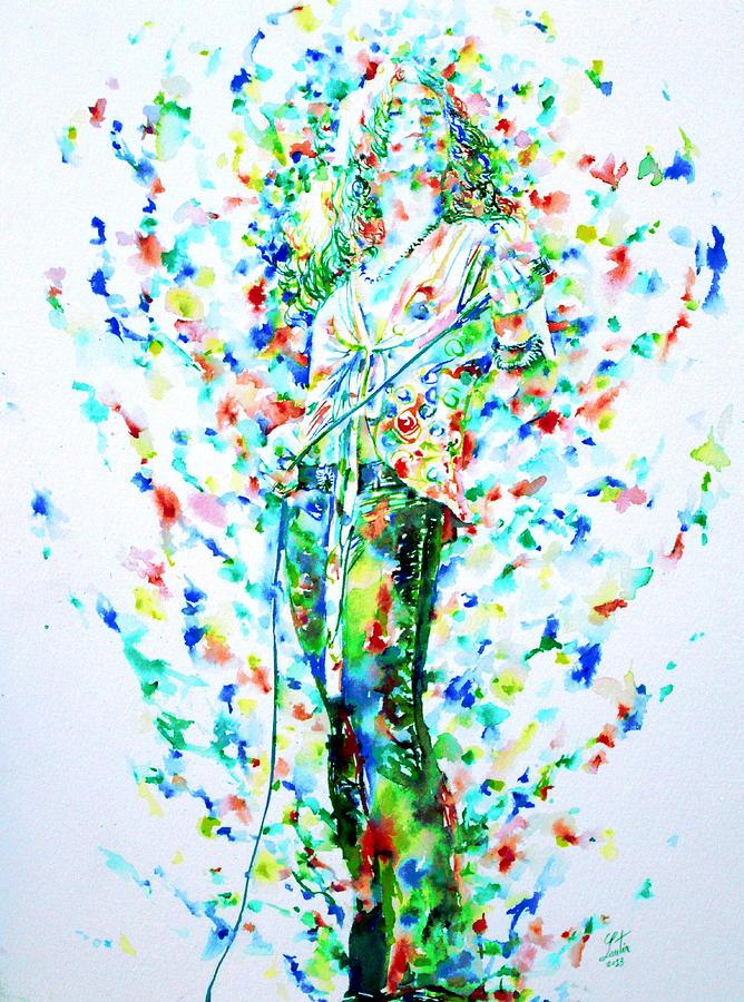 Robert Painting - Robert Plant Singing - Watercolor Portrait by Fabrizio Cassetta