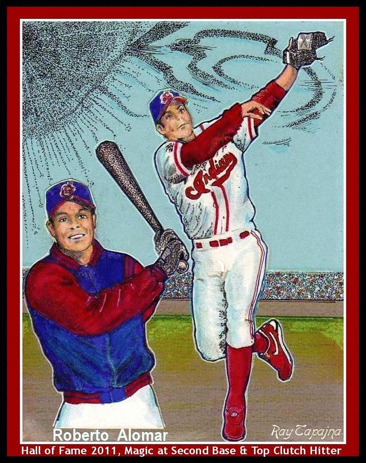 Baseball Mixed Media - Roberto Alomar Hall Of Fame by Ray Tapajna