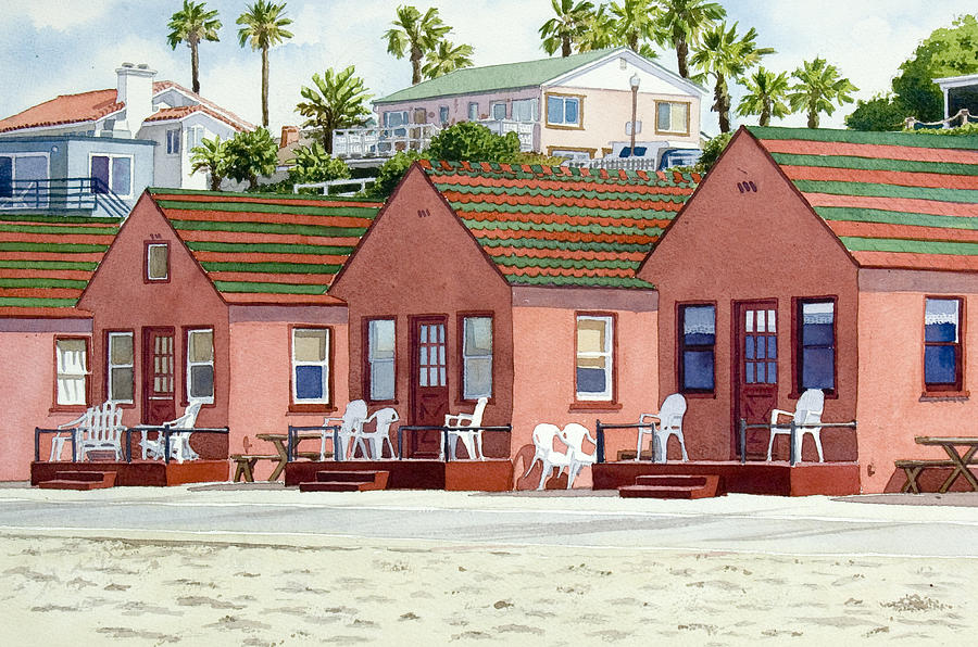 California Painting   Roberts Cottages Oceanside By Mary Helmreich