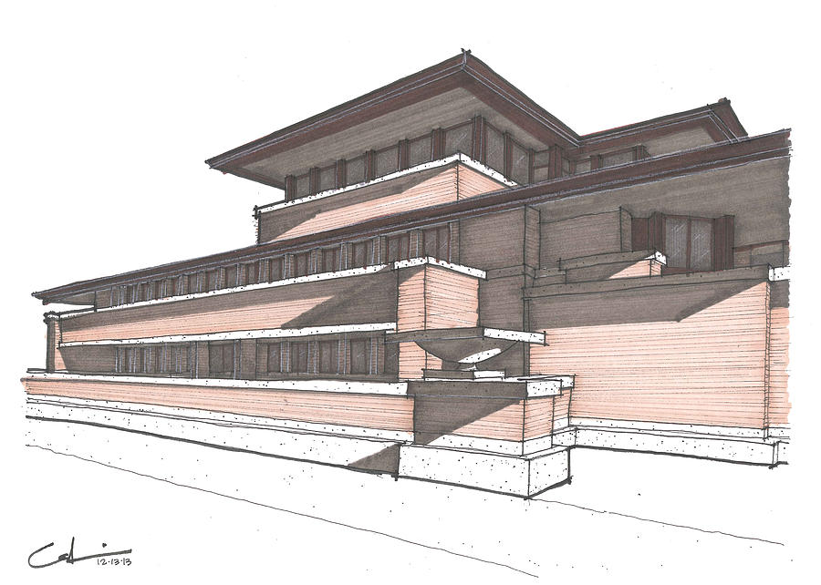 Flw Drawing   Robie House By Calvin Durham