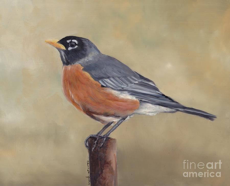 Bird Painting - Robin by Charlotte Yealey