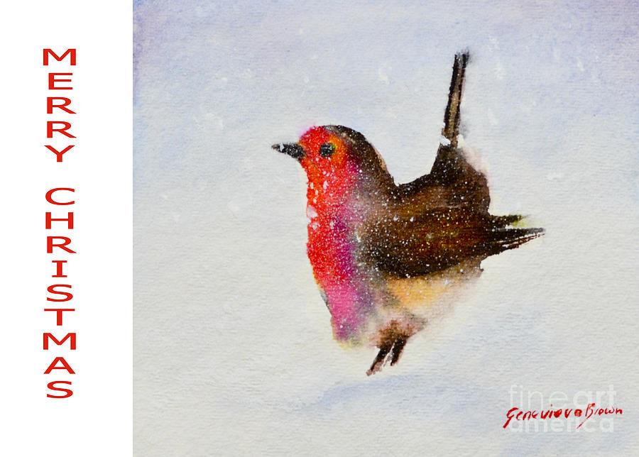 Robin Christmas Card by Genevieve Brown