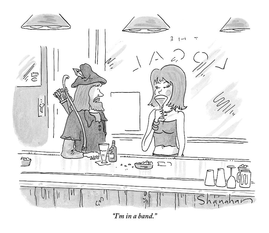 Robin Hood Attempts To Pick Up A Woman At A Bar Drawing by Danny Shanahan