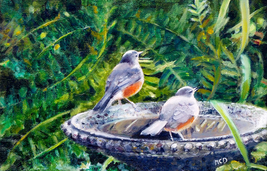 Birds Painting - Robins Drinking by Marie-Claire Dole