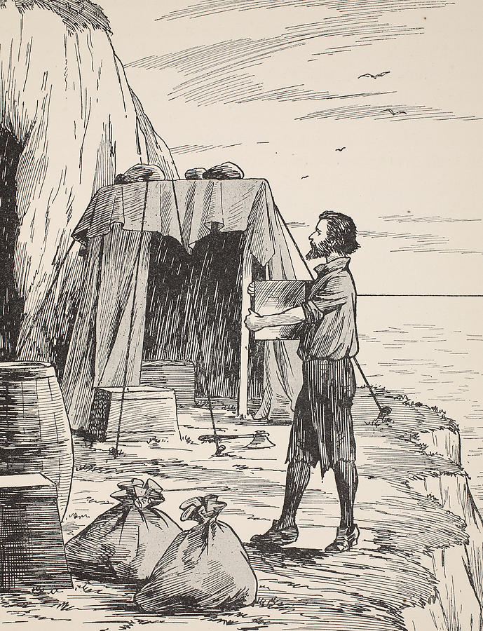 Robinson Crusoe Building His Shelter Painting By English