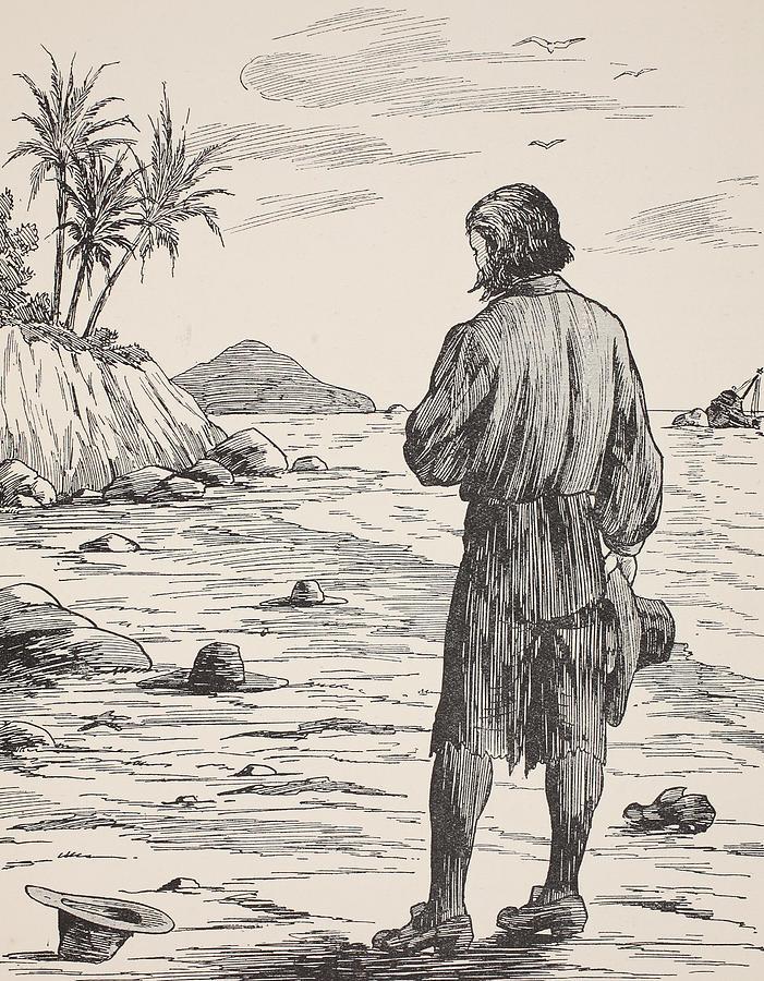 Robinson Crusoe Painting - Robinson Crusoe on his island by English School