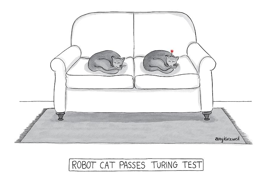 Robot Cat Passes Turing Test Drawing by Amy Kurzweil