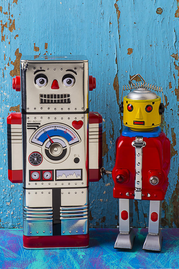 Robots Photograph - Robot Friends by Garry Gay
