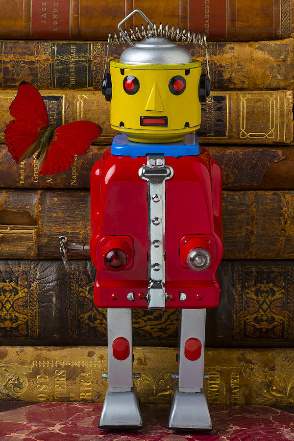 Robots Photograph - Robot With Butterfly by Garry Gay