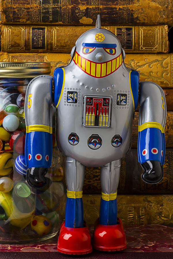 Robots Photograph - Robot With Marbles And Books by Garry Gay