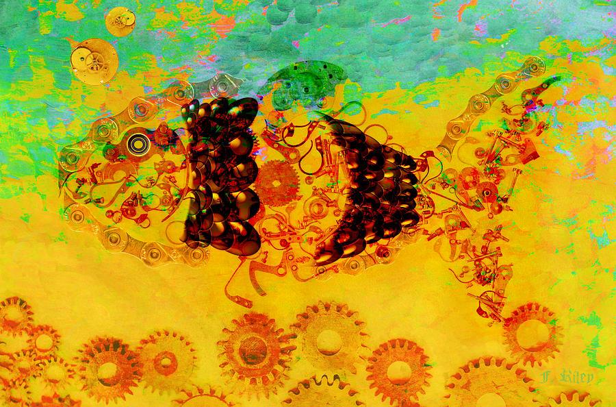 Fish Digital Art - Robotic Fossil - Fish by Fran Riley