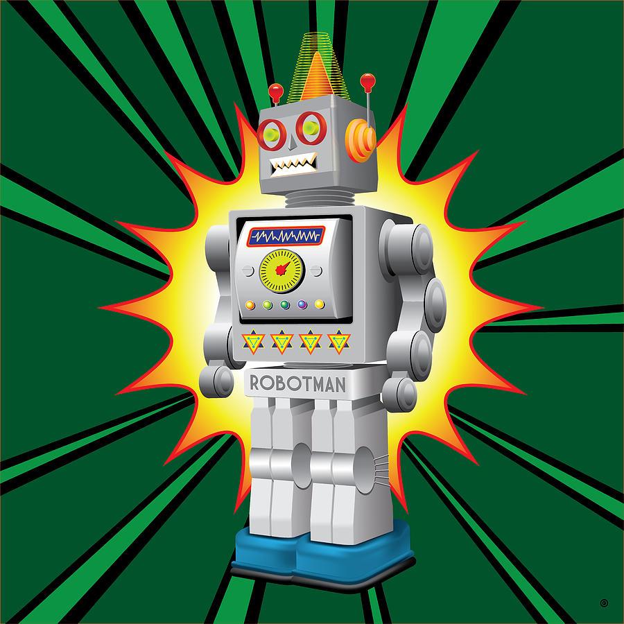 Vector Digital Art - Robotman by Gary Grayson