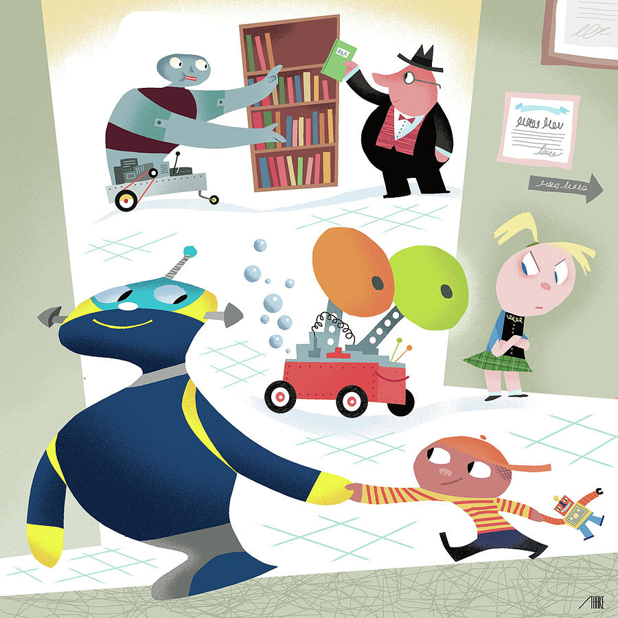 Robots And Children At School Digital Art by Bob Staake