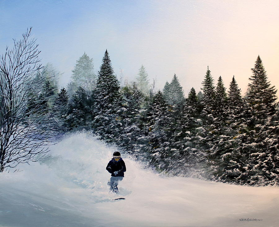 Ski Painting - Robs Run by Ken Ahlering