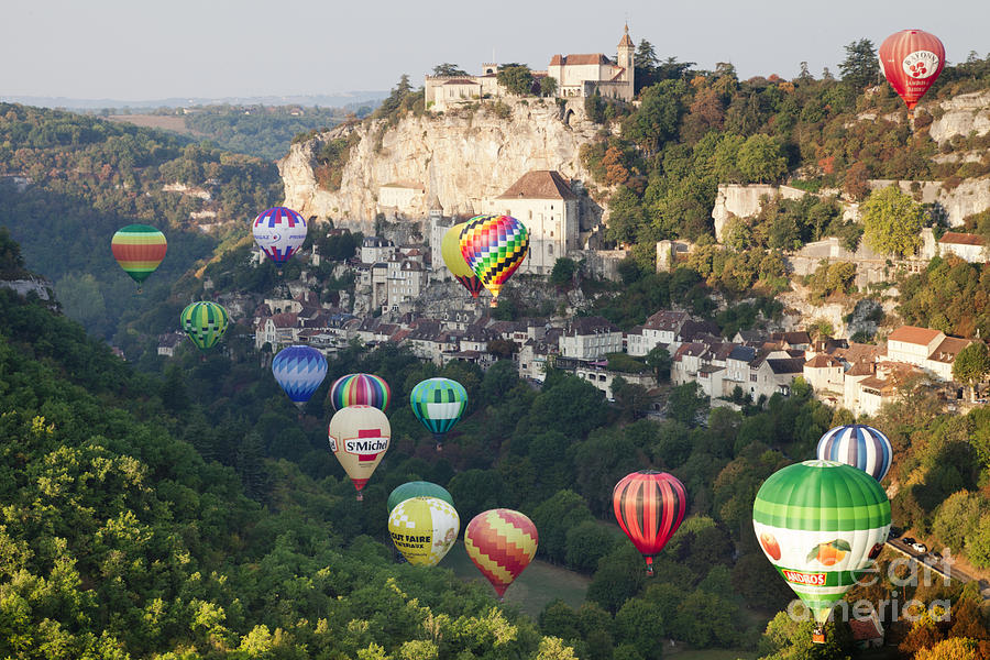 Balloons Photograph - Rocamadour Midi-pyrenees France Hot Air Balloons by Colin and Linda McKie