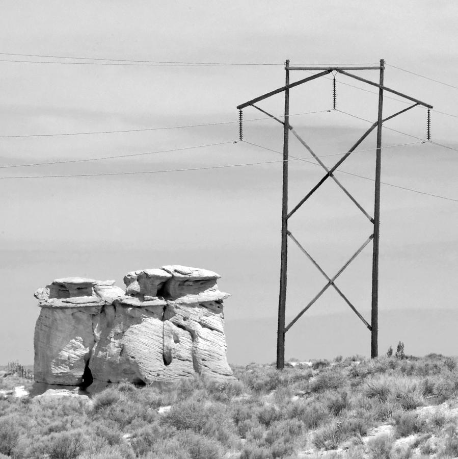 Rock And Power Line Photograph