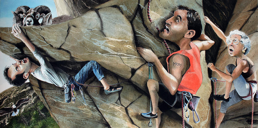 Rock Climbing Painting - Rock Climbers by Denny Bond