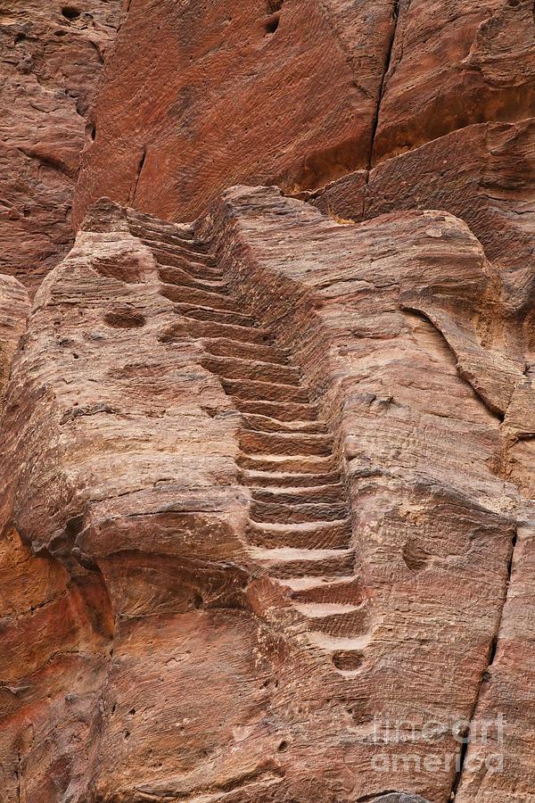 Steps Photograph - Rock Cut Stairway Of The Street Of Facades Petra Jordan by Robert Preston