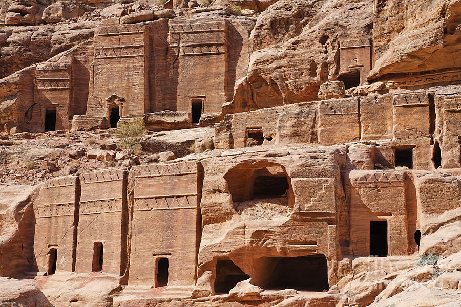 Rock Photograph - Rock Cut Tombs On The Street Of Facades Petra Jordan by Robert Preston