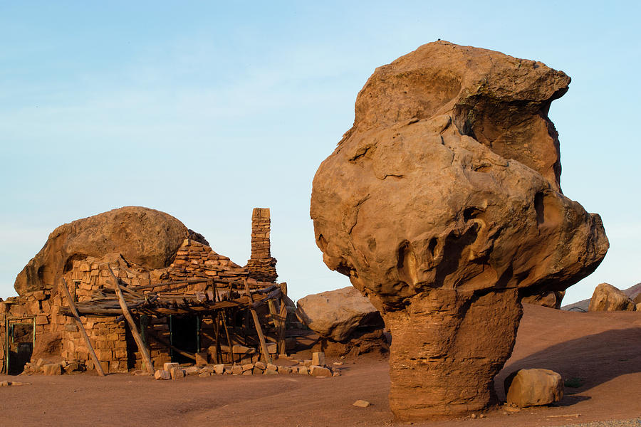 Horizontal Photograph - Rock Formations And Abandoned Building by Panoramic Images