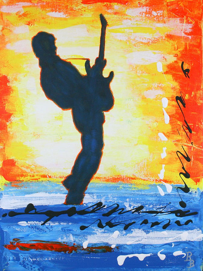 Rock Painting - Rock Guitar Abstract Painting by Bob Baker