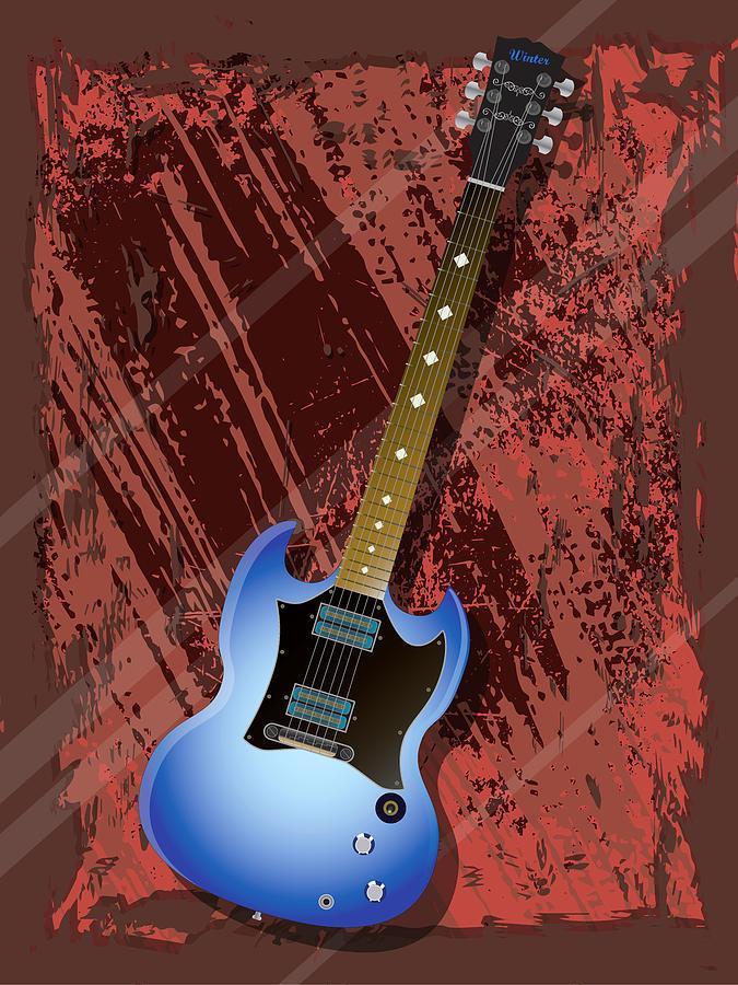 Music Digital Art - Rock Guitar by Lee Wolf Winter