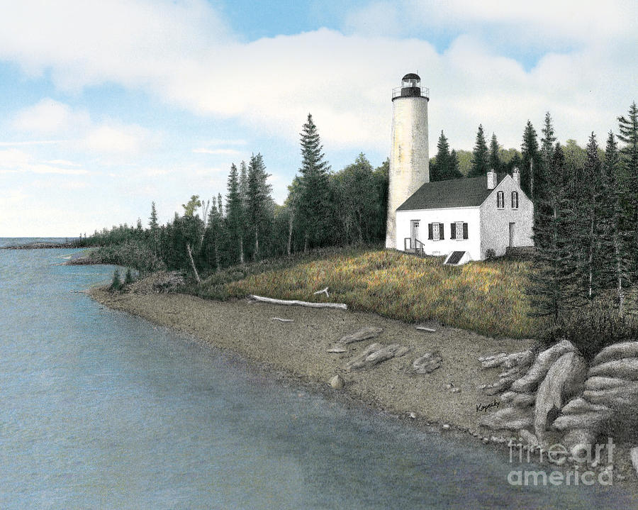Lighthouse Drawing - Rock Harbor Lighthouse by Darren Kopecky