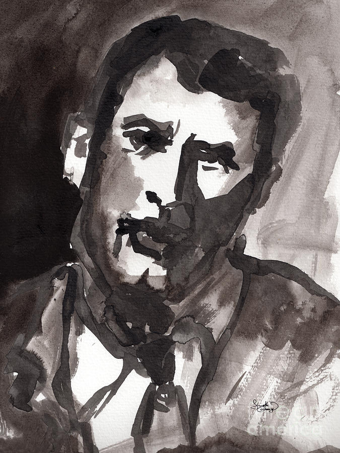 Faces Painting - Rock Hudson Watercolor Sketch by Ginette Callaway