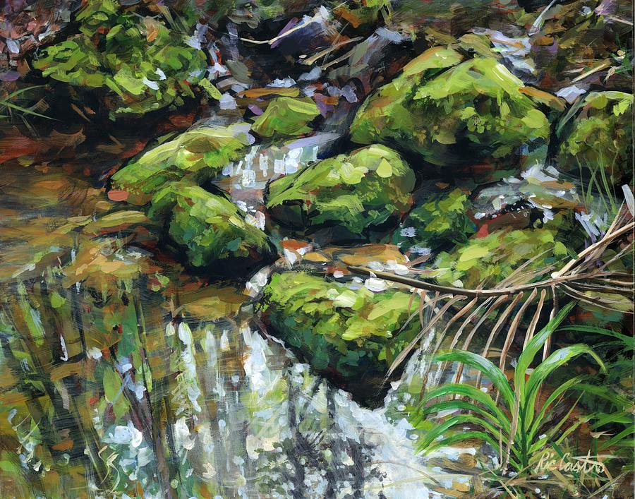 Working on another painting of the east fork of Lewis River, near Moulton  Falls
