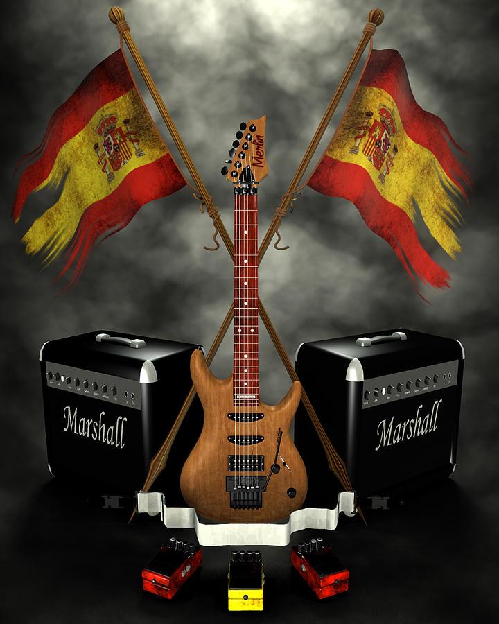 Rock N Roll Digital Art - Rock N Roll Crest- Spain by Frederico Borges