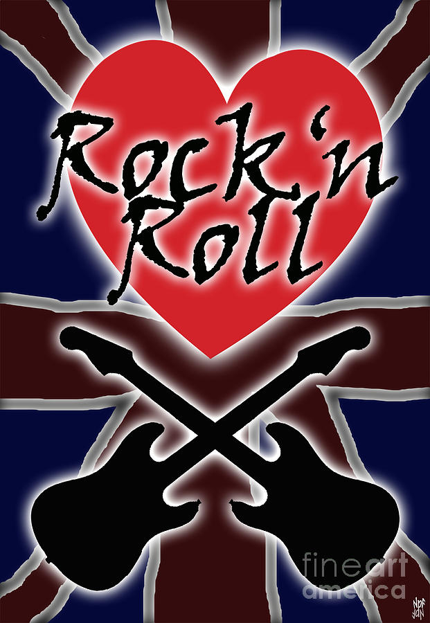 Rock Digital Art - Rock N Roll Union Jack by Neil Finnemore
