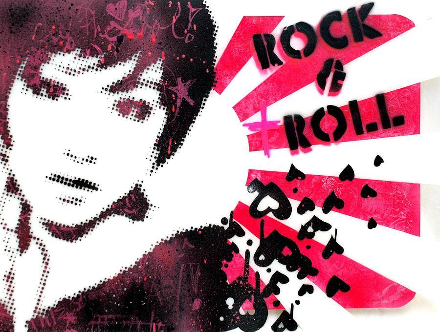 Stencil Painting - Rock N Troll by Vanessa Baladad