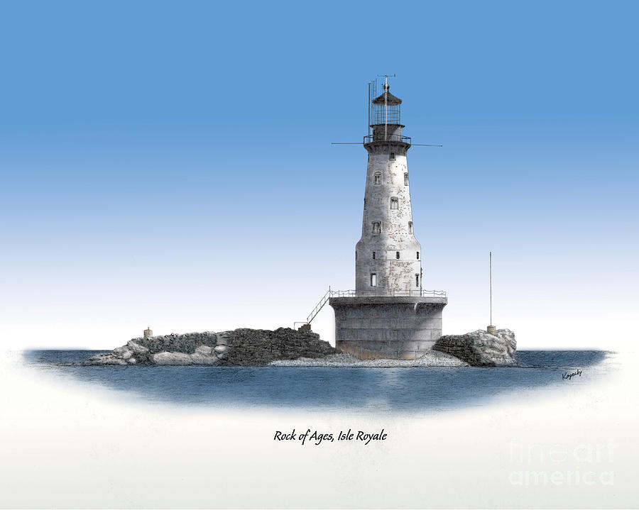 Lighthouse Drawing - Rock Of Ages Lighthouse Titled by Darren Kopecky